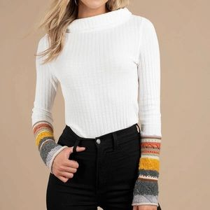 Free People Mixed Up Cuff Long Sleeve Top